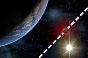 Картинка, показывающая полет астероида. 2010 WC9 пролетит мимо Земли 15 мая