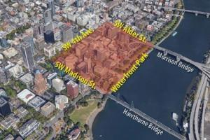 В Центре Портленда возможно перекрытие дорог. На картинке - центр города на карте